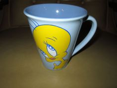 "Tweety Bird Coffee Mug Cup I'm Innocent I just wook quilty"" Warner 12 oz.Blue"
