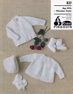 Baby 4ply Matinee Jacket Bonnet Bootees & Mittens 0 - 3 months - Pingouin 837 - PDF of Vintage Knitting Patterns