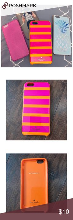 iPhone cases ♠️ Kate Spade 4 iPhone 6s Plus cases including Kate Spade, pineapple, transparent pink, & girl drinking coffee. Gently used. kate spade Accessories Phone Cases