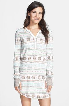 PJ Salvage Print Thermal Nightshirt at Nordstrom.com. A charming printed henley nightshirt with contrasting thumbhole cuffs adds a bit of whimsy to your sleep.
