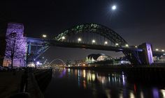 The Tyne Bridge at Newcastle/Gateshead under a full moon