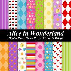 BUY 2 GET 1 FREE - Alice in Wonderland Digital Paper Pack (17) 12x12 sheets 300 dpi scrapbooking invitations birthday disney. $4.00, via Etsy.