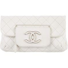 Chanel Fold-Over Clutch (4.540 BRL) ❤ liked on Polyvore featuring bags, handbags, clutches, white, white hand bags, zipper purse, white purse, white handbags and white clutches