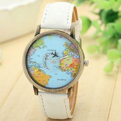 Lovesky As Mulheres Se Vestem Relógios Moda Global de Viagens De Avião Mapa…