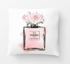 Chanel Inspired , Cushion, pillow, Chanel no5, Chanel pillow, Chanel cushion. Made to order custom cushion, 18x18 with filling. ♥♥ 2 ways to order