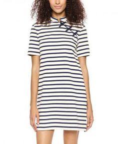 Vintage Cheongsam Button Round Neck Stripe Dress | TrendTwo