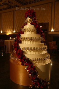 dramatic champagne tower with scroll escort cards!