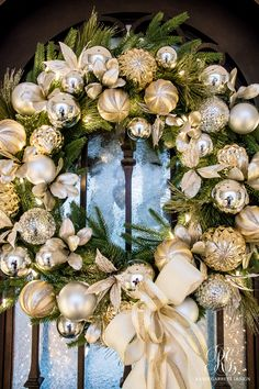 Silver and Gold Christmas Front Porch – Randi Garrett Design Silver and gold Christmas front door wreath Christmas Wreaths For Front Door, Gold Christmas Decorations, Holiday Wreaths, Christmas Ornaments, Christmas Trees, Silver Ornaments, Elegant Christmas Decor, Burlap Christmas, Primitive Christmas