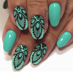 Almond-shaped nails, Beautiful patterns on nails, Beautiful summer nails, Black…