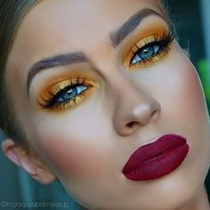 88 Bold Lipstick Ideas Suitable for This Summer - Aksahin Jewelry Glam Makeup, Love Makeup, Eyeshadow Makeup, Makeup Inspo, Makeup Art, Makeup Inspiration, Beauty Makeup, Hair Makeup, Yellow Makeup