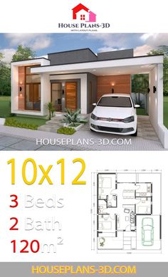 House design with 3 Bedrooms Terrace Roof - House Plans Flat House Design, Single Floor House Design, Bungalow Haus Design, Simple House Design, Minimalist House Design, Modern House Design, My House Plans, Modern House Plans, Small House Plans