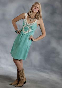 Roper® Turquoise Cotton Lace Applique Western Sun Dress