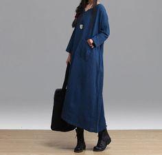 Linen Maxi Dress Loose Fitting Long Dresses - Buykud - 4