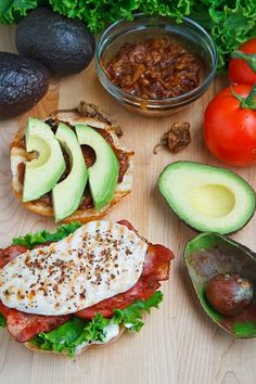 Grilled Chicken and Club Sandwich with Avocado and Chipotle Caramelized Onions.love a great sandwich! I Love Food, Good Food, Yummy Food, Tasty, Avocado Recipes, Healthy Recipes, Salmon Recipes, Delicious Recipes, Sandwiches