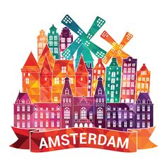 2 x Amsterdam Holland Vinyl Sticker Decal Luggage Travel Netherlands Amsterdam Skyline, City Drawing, Skyline Art, Travel Icon, World Cities, Arts And Crafts Supplies, Travel Posters, Photos, Travel Netherlands