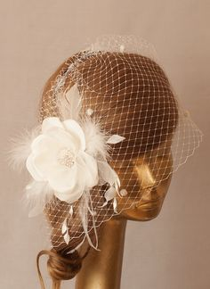 WEDDING Bridal BIRDCAGE VEIL. Ivory Taffeta Flower . by ancoraboutique, $119.00