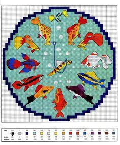Gallery.ru / Фото #45 - Часики - CyeTa Loom Beading, Beading Patterns, Cross Stitch Charts, Cross Stitch Patterns, Cross Stitch Animals, Stitch 2, Tropical Fish, Cross Stitching, Clock Faces