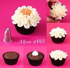 Use the Ateco chrysanthemum frosting tip for decorating cakes, cupcakes and cookies! Use this icing nozzle to pipe chrysanthemum petals with buttercream or royal icing. We also carry flower nails to h Icing Tips, Frosting Tips, Frosting Techniques, Mini Cakes, Cupcake Cakes, Baking Cupcakes, Fondant Cakes, Cup Cakes, Icing Nozzles