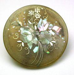 Antique Honey Horn Button Floral Inlay of Brass Silver & Iridescent Shell