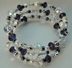 Purple Crystal Bracelet Pearl Silver Bracelet Beaded by mscenna, $15.00
