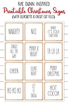 Free Printable Rae Dunn Inspired Christmas Signs and FREE Cut Files for Silhouette and Cricut printables Rae Dunn Inspired Printable Christmas Signs with Cut Files Christmas Words, Christmas Svg, Rustic Christmas, Christmas Projects, Holiday Crafts, Holiday Fun, Christmas Holidays, Christmas Ideas, Christmas Quotes