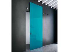 Puerta corrediza de vidrio sin marco VITRUM-MOVE MULTY | Puerta de vidrio lacado - BLUINTERNI