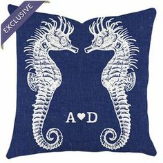 """Add a pop of coastal style to your favorite chaise or arm chair with this lovely cotton pillow, showcasing a perzonalized seahorse motif.  Product: PillowConstruction Material: CottonColor: Navy and whiteFeatures:  Zipper EnclosureInsert includedDimensions: 16"""" x 16""""Note: Handmade by TheWatsonShop"""