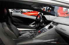 lamborghini aventador black interior from side