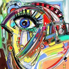 originale abstrait numérique de peinture d'oiseaux doodle, coloré motif d'impression affiche, illustration vectorielle