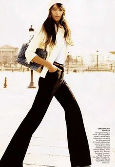 Parisian| bell bottoms| neutrals| style > trends love the look, gotta take out my own black bootcuts from deep down the closet...  trés chic