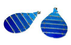 Fanny Agnier - Rain drop earrings  - Enamel, silver, gold