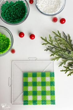 Homemade gift ideas for Christmas. Make DIY Coasters as a fun hostess gift or use them as fun crafts for the kids and use them in your holiday decorations. Quick Crafts, Cute Crafts, Crafts For Kids, Arts And Crafts, Christmas Colors, Christmas Fun, Perler Beads Pegboard, Holiday Crafts, Holiday Decorations