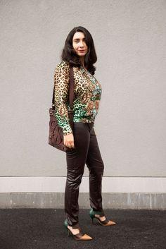 WIWT - Escada pants, Mango leo-print blouse, Escada shoes, YSL bag, Escada earring