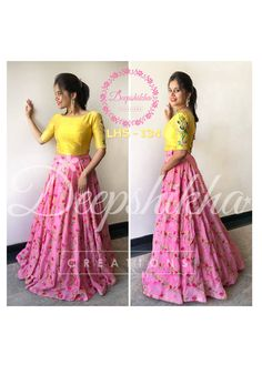 LHS - Beautiful blsh pink and yellow color combination. Nice pink color lehenga and yellow color blouse with hand embroidery threda work. For queries kindly WhatsApp: 9059683293 . Kids Dress Wear, Kids Gown, Lehenga Gown, Anarkali Dress, Lehenga Blouse, Half Saree Designs, Lehenga Designs, Long Gown Dress, Frock Dress