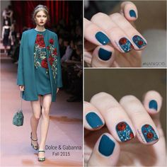"""Arelis P. on Instagram: """"Happy Friday!!! ❤️ #FBF To a few weeks back with @dolcegabbana Fall 2015... This was one of my favorites looks, still IN LOVE with these nails the colors look amazing!!! On the nails @essiepolish Go Overboard... The roses were all freehanded with acrylic paint. #essie #essielook #gooverboard #nailart #nails #nailartaug #fashionnails #dolcegabanna #roses #fall2015 #fashion #essiefan #roses"""""""