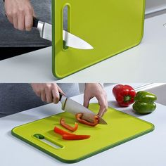 "Keep your knives sharp while you slice with this innovative cutting board. Durable, hard-wearing plastic is easy on edges, but should your knife start feeling a little dull, simply turn the board onto its nonslip edge and run it through the incorporated sharpener. Board is dishwasher safe for easy cleanup. Cutting board is made of plastic and measures 15"" x 11"" Please allow 12 days for shipping."