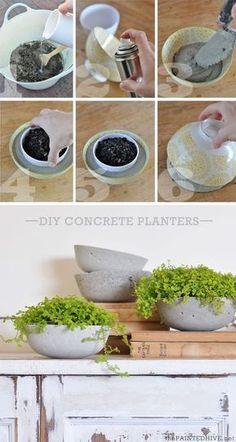 Como hacer macetas de cemento, concreto u hormigón Diy Concrete Planters, Concrete Crafts, Concrete Projects, Diy Planters, Garden Planters, Planter Pots, Succulent Planters, Diy Concrete Mold, Concrete Design