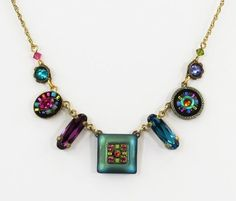 Firefly Jewelry Necklace with Multicolored Swarovski Crystals Handcrafted in Guatemala Gold Tone