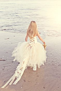 Lace Flower Girl Dress--Lined and Sewn Tulle Skirt-- the back of this dress is so cute!