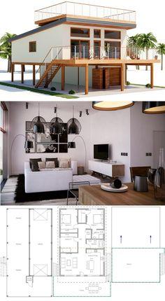 Architecture, House Designs, Home Plans, Beach house plans - Architektur Coastal House Plans, Beach House Plans, Modern House Plans, Coastal Homes, Unique House Plans, Tiny House Design, Modern House Design, House Design Plans, Design Floor Plans