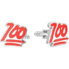 Cufflinks Inc. 100% Emoji Cufflinks (Red) Cuff Links ($55) ❤ liked on Polyvore featuring men's fashion, men's accessories, cuff links and red cuff links