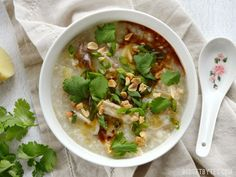 Instant Pot Congee is a warm and comforting porridge with endless possibilities for fun toppings - BudgetBytes.com