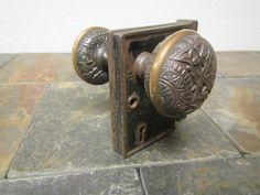 Vintage Metal Door Knob And Latch Set ; Raised Metal Design On Knobs ** Lot  2