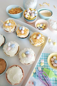 """The carrot loving little """"bunnykids"""" in your household will love making and eating these delicious muffins. For Easter, ice them with your favorite frosting and decorate with candy eggs. Carrot Muffins, Recipe Of The Day, Mini Cupcakes, I Love Food, Food Food, Frosting, Carrots, Household, Brunch"""