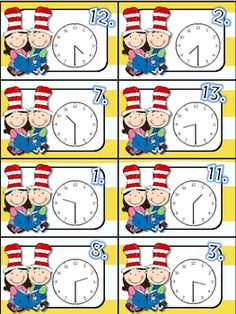 Dr. Seuss telling time to the hour/half hour--free