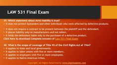 Get fully updated LAW 531 Question And Answer For Final Exam on Uopstudents. You can instantly download answers for final exam, which are prepaid by our expert tutors.
