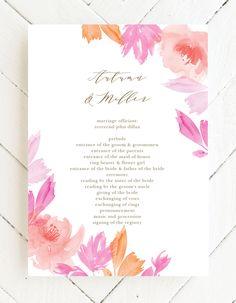 The Water Rose Wedding Programs feature colorful coral florals against a white background. Customize these cards with endless combinations of colors and fonts. #summerweddingprograms #springweddingprograms #cuteweddingprograms Bride Sister, Father Of The Bride, Rose Wedding, Wedding Flowers, Flower Cake Decorations, Bridal Party Invitations, Wedding Trends, Wedding Ideas, Summer Wedding Colors