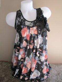AX Paris Black Pink Gray Floral Print Lace Bubble Hem Tunic Dress Pretty 10 #AXParis #Bubble #Clubwear