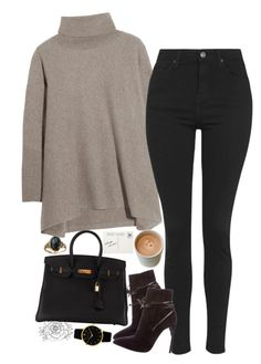 """""""Untitled #2398"""" by sisistyle ❤ liked on Polyvore featuring N.Peal Cashmere, Topshop, Yves Saint Laurent, Hermès and Larsson & Jennings"""