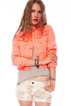 Colored Denim Jacket in Neon Coral $64 at www.tobi.com